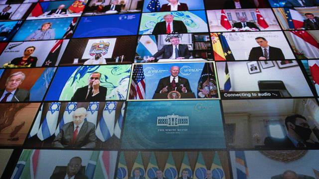 washington-usa-22-04-2021-a-video-monitor-shows-president-joe-biden-speaking-during-a-virtual-international-leaders-summit-on-climate-in-the-east-room-of-the-white-house-in-washington-dc-usa-22-april-2021-us-presid